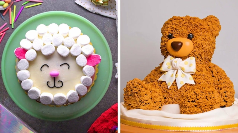 Torte di compleanno per bambini maschi, torta orsetto con crema, trota viso pecorella
