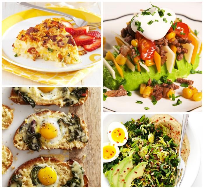 Torta salata per colazione, panino con uovo occhio di bue, uova alla coque e avocado