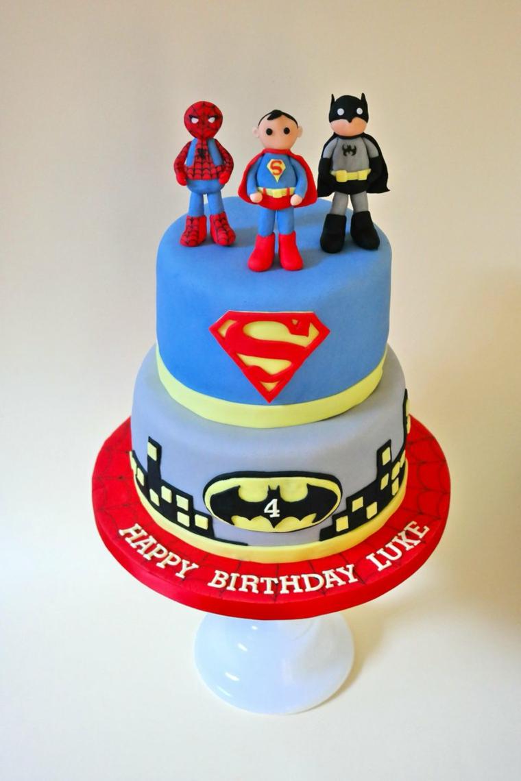 Regalo bimbo 4 anni, torta con personaggi supereroi, torte di compleanno maschili
