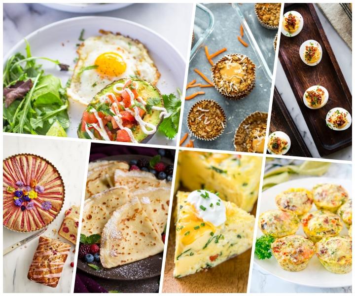 Antipasti sfiziosi freddi veloci, collage di foto, uova ripiene, crepe con frutta di bosco