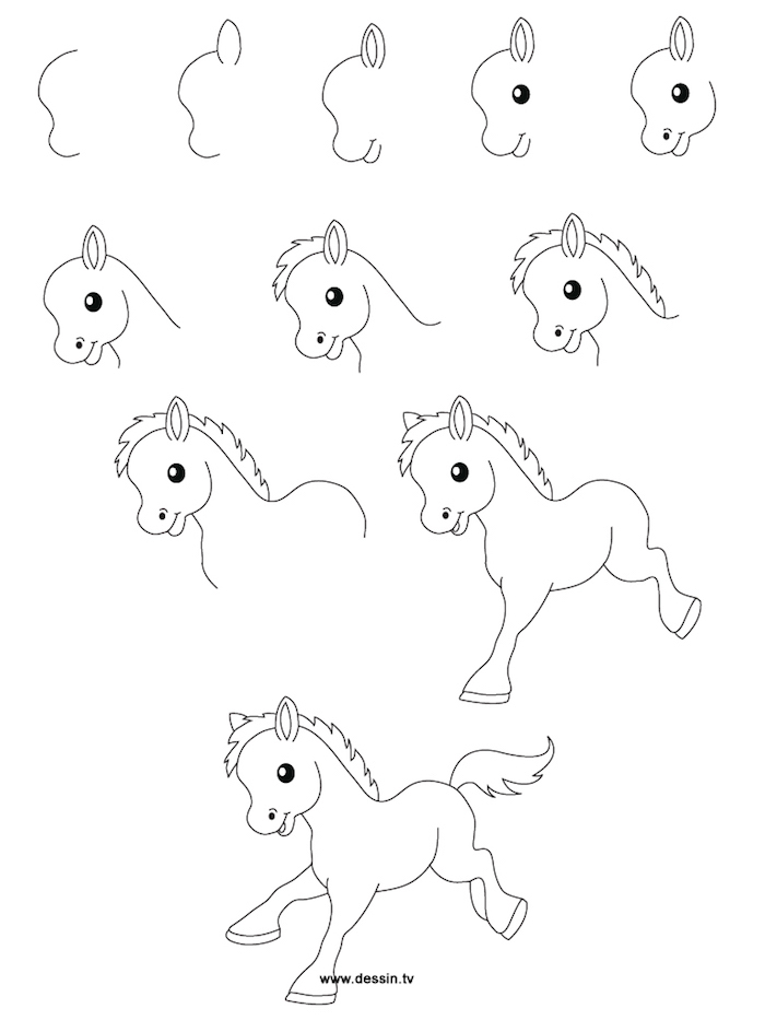 Come disegnare un ponny, disegno a matita, istruzioni disegno cavallo