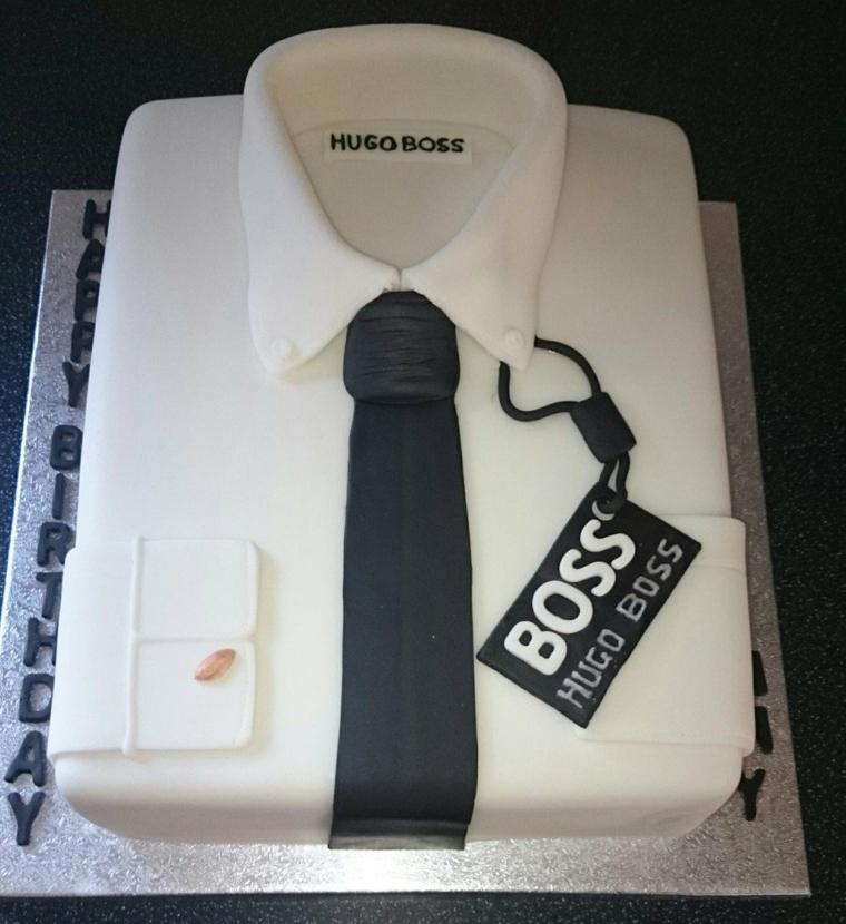 Regalo torta per uomo, decorazione torta forma camicia, cartellino Hugo Boss
