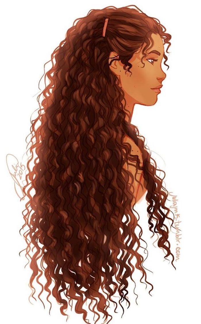 Schizzo di una ragazza, disegno con pastelli, immagini da disegnare facili, capelli lunghi e ricci