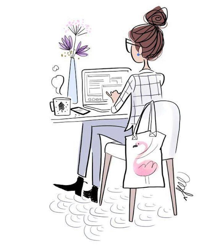 Disegno con pennarelli colorati, disegno di una ragazza, ragazza con capelli legati, scrivania e computer