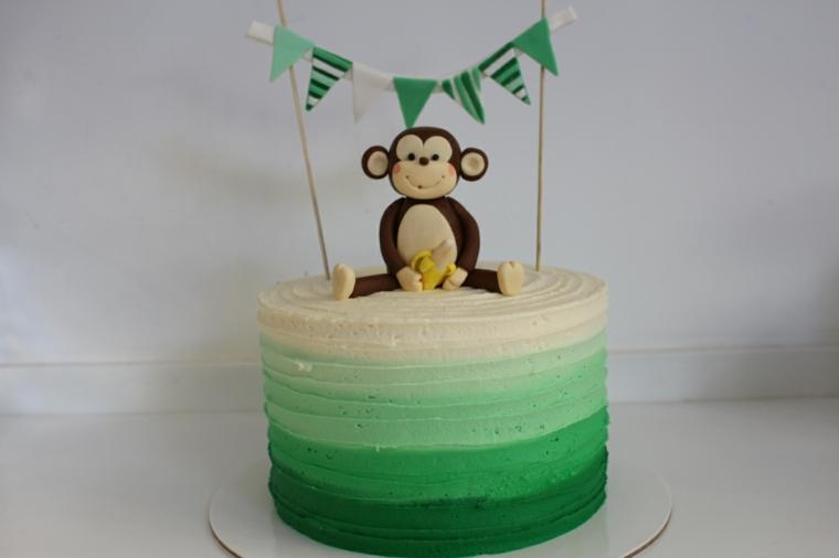 Torte di compleanno per bambini maschi, torta rotonda con topper, topper torta ghirlanda