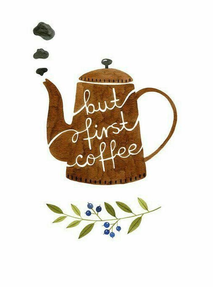 Disegna e colora, disegno di una caffettiera, caffettiera con scritta, rametto con foglie
