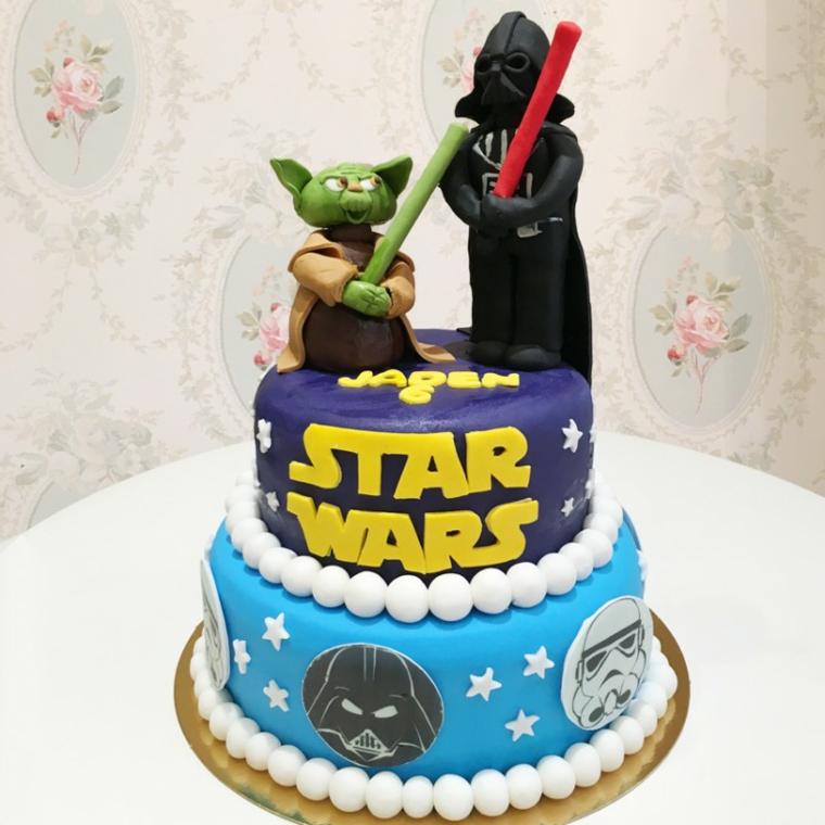 Torte di compleanno per bambini maschi, torta ricoperta con pasta di zucchero, topper Star Wars