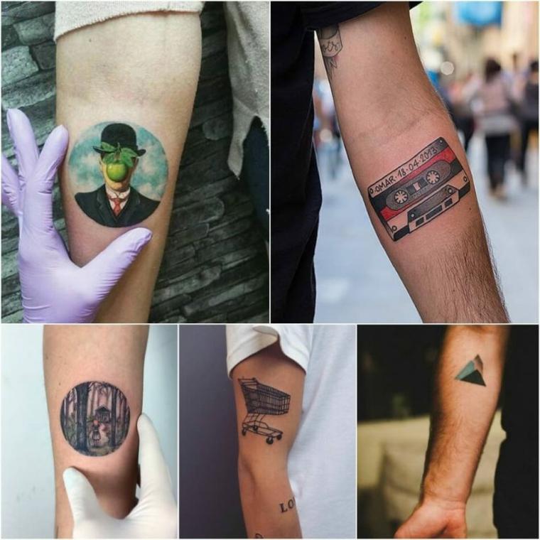 Tatuaggi piccoli maschili, disegno tattoo carrello spesa, disegno tattoo cassetta musicale