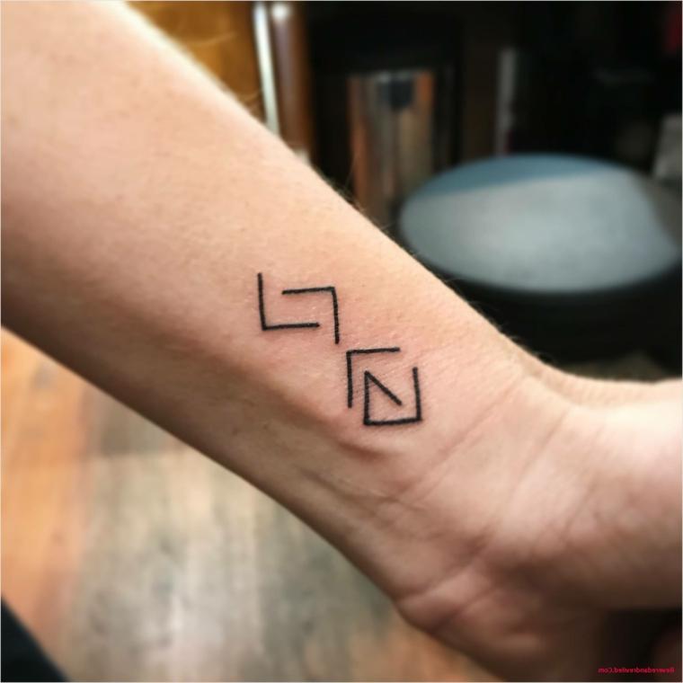 Tatuaggio sul polso della mano, disegno simboli, tattoo discreto sul braccio uomo