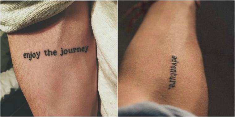Uomo con tattoo sul braccio, tatuaggio scritte, scritte in inglese per tattoo