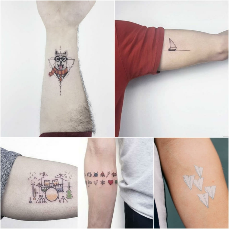 Tatuaggi piccoli maschili, tattoo disegno cane, simboli colorati sull'avambraccio