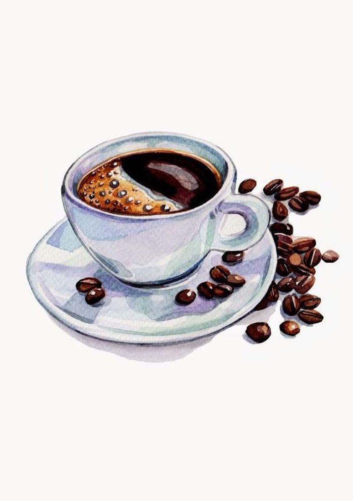 Tazzina di caffè, chicchi di caffè, disegno con acquarelli, disegni facili e belli
