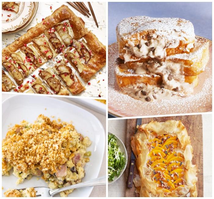 Toast alla francese, sfornato di pasta sfoglia, dolce con codette colorate, colazione e brunch