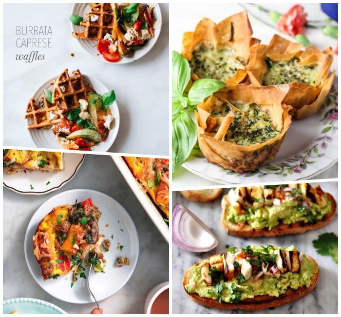Bruschetta con guacamole, antipasti freddi per buffet, spicchio di cipolla rossa, burrata caprese