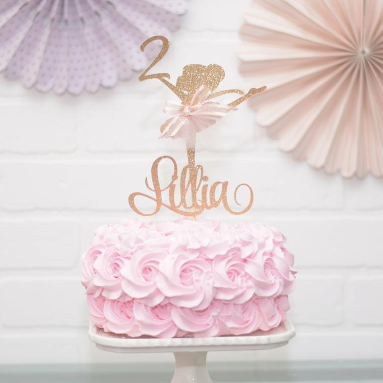Topper nome bimba, topper con ballerina, decorazione torta con panna colorata, torte di compleanno facili da fare in casa