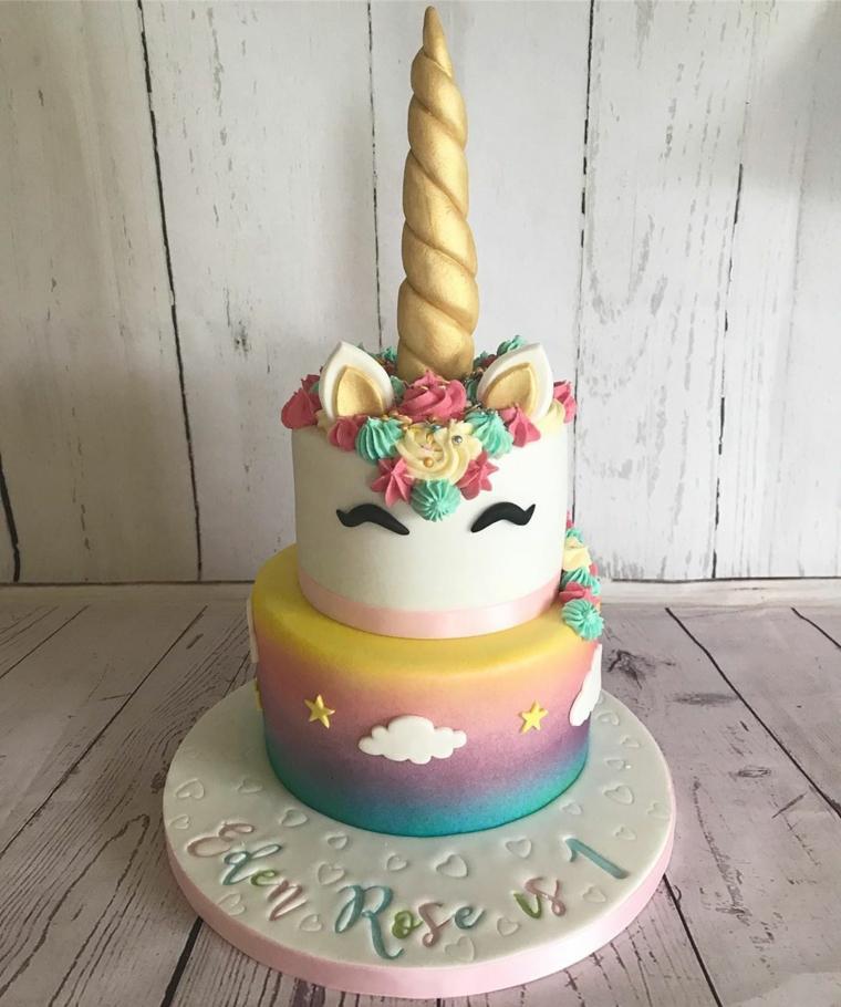 Torte bellissime, cake design unicorno, torta con unicorno, decorazioni con pasta di zucchero