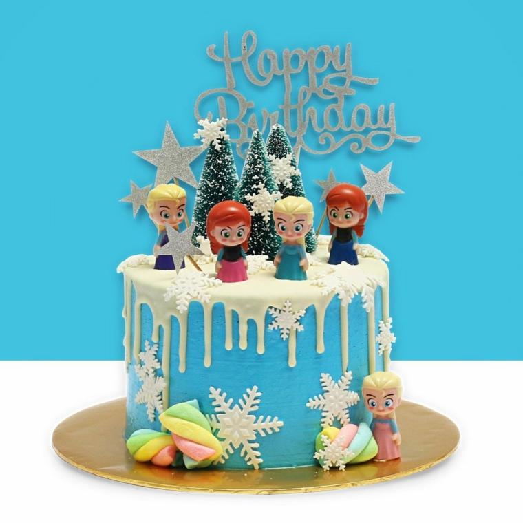 Tote bellissime, torta di compleanno per bimba, topper con scritta, personaggi del cartone Frozen