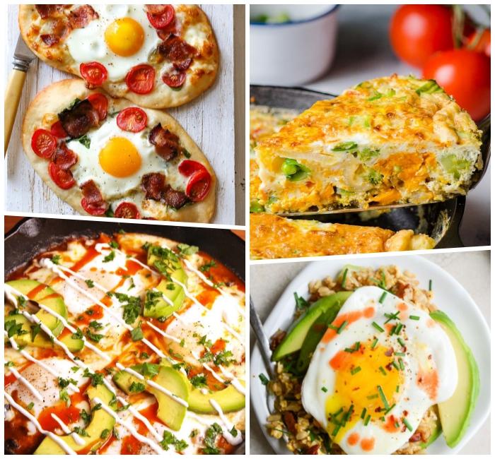 Colazione con uovo occhio di bue, uova alla contadina con avocado, idee cibo da brunch