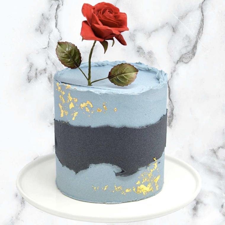 Decorazione torta con rosa, dolce con crema pasticcera colorata, immagini torte compleanno da scaricare