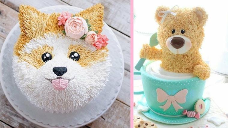 Torta rotonda con panna, torta per bimbo cagnolino, pasta di zucchero per torta azzurra