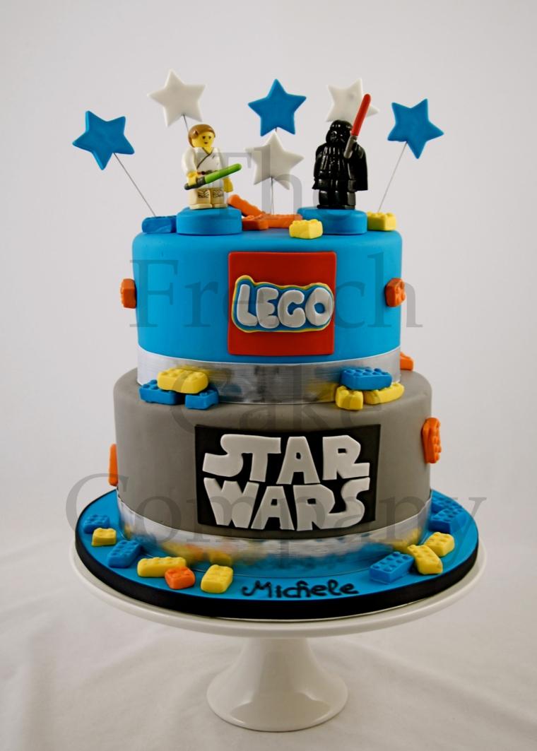 Torta due piani Lego, immagini torte compleanno da scaricare, topper con stelle