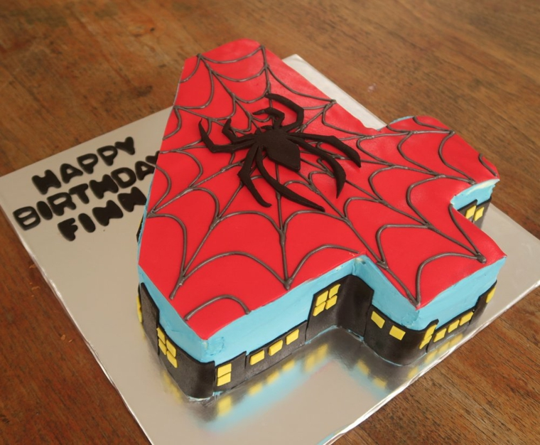 Immagini torte di compleanno da scaricare, torta bimbo 4 anni, decorazione Uomo Ragno