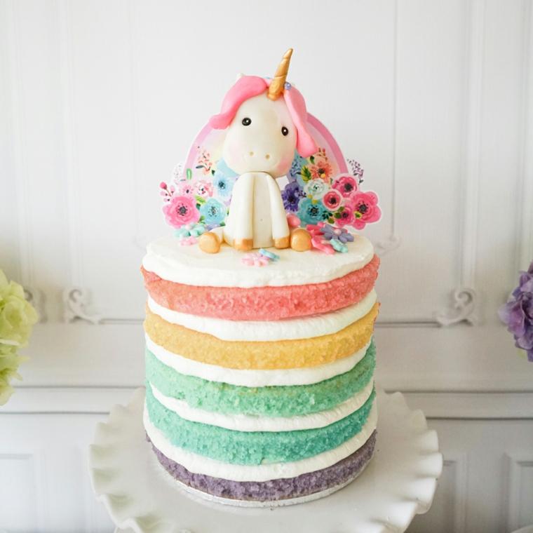 Torta a strati arcobaleno, torte di compleanno particolari, decorazione torta con unicorno
