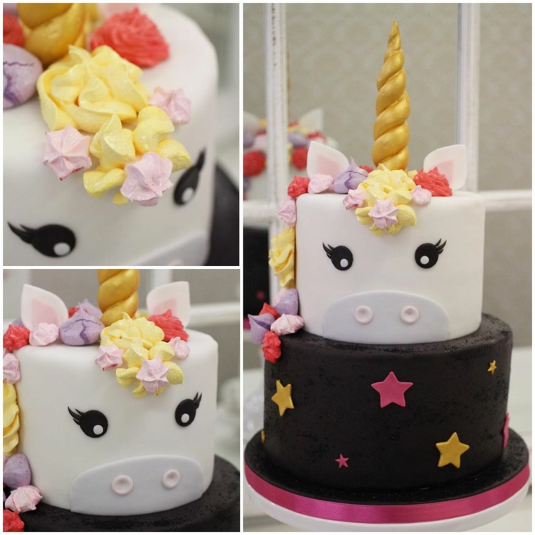 Decorazioni torta unicorno, torta con panna colorata, collage di foto per torte