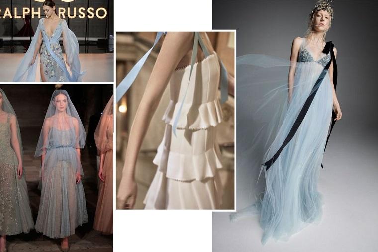 Vestito matrimonio civile, abiti sposa di colore blu, abito corto con spalline colorate di blu