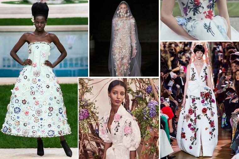 Abiti da sposa principeschi, vestito con stampe floreali, vestito con velo lungo