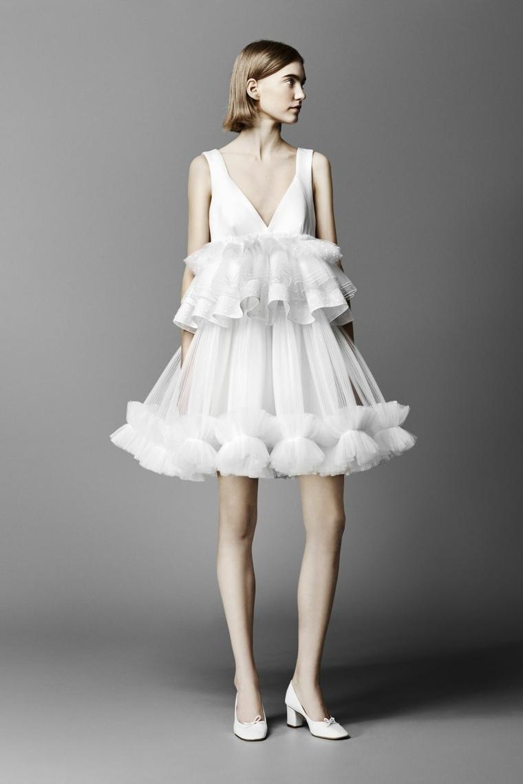 Abiti da sposa corti, abito con tulle bianco, scollo V vestito corto, gonna a ruota