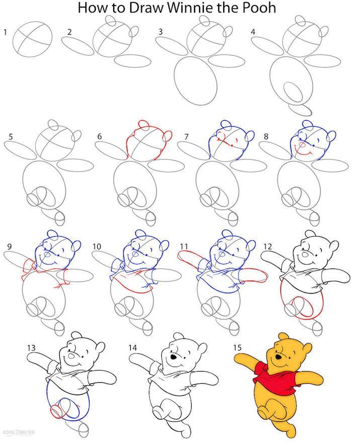 Come disegnare Winnie The Pooh, tutorial con passaggi, disegno a matita