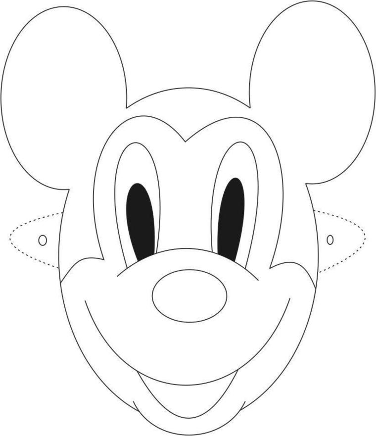Immagini maschere di carnevale, disegno di Mickey Mousse, disegno da ritagliare