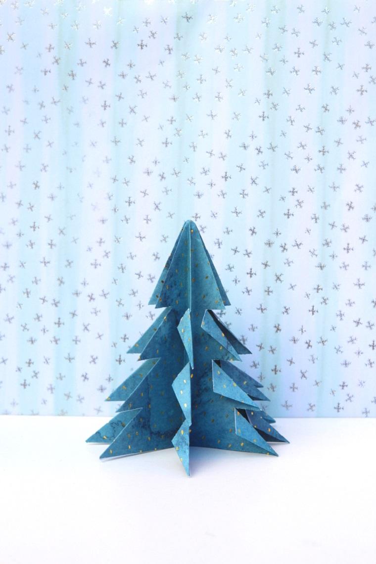 Alberi di Natale originali, albero di carta origami, carta blu per origami