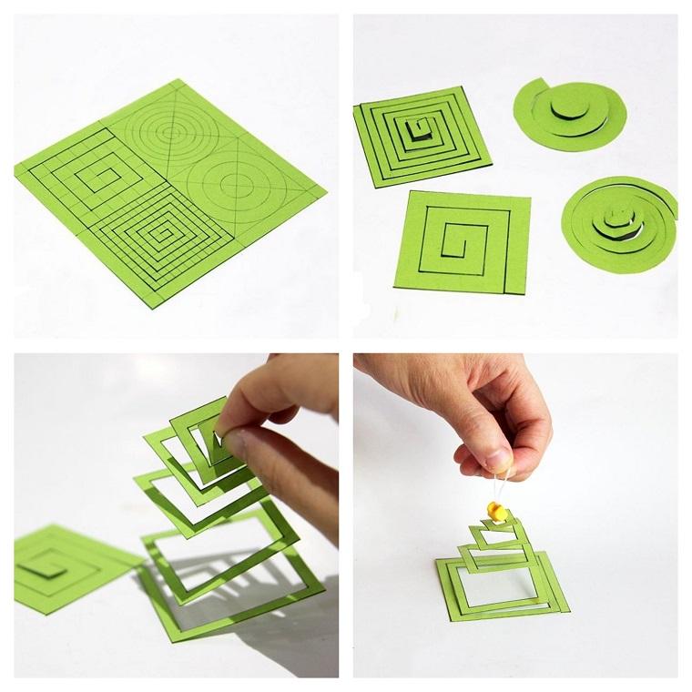 Lavoretti di Natale facili, addobbi da appendere, decorazione con carta di colore verde