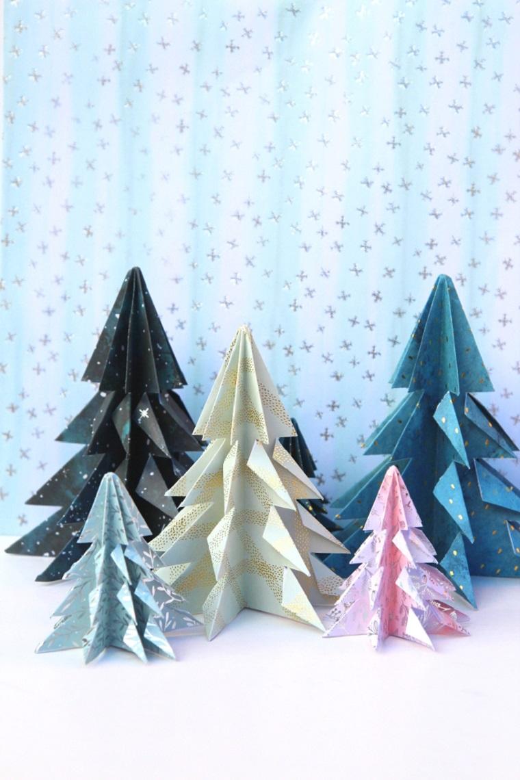 Albero di Ntale stilizzato, alberelli di carta origami, origami con carta da regalo