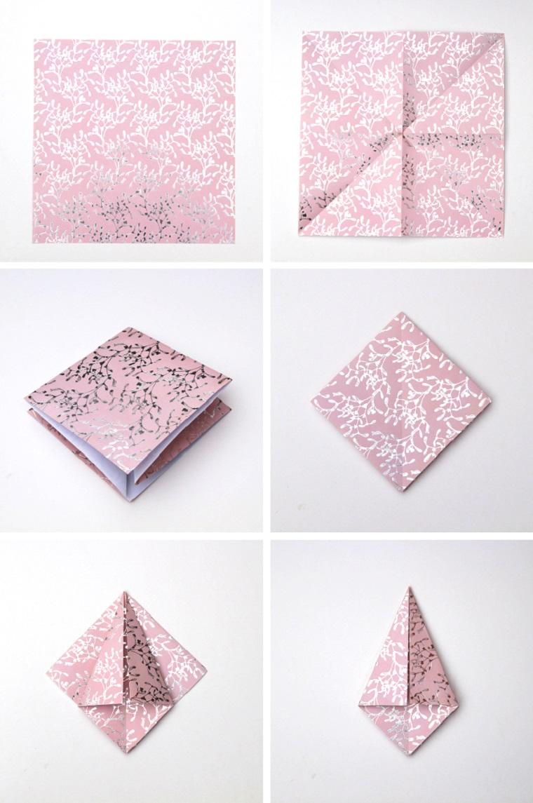 Tutorial per origami di carta, carta da regalo colore rosa, lavoretti di Natale facili