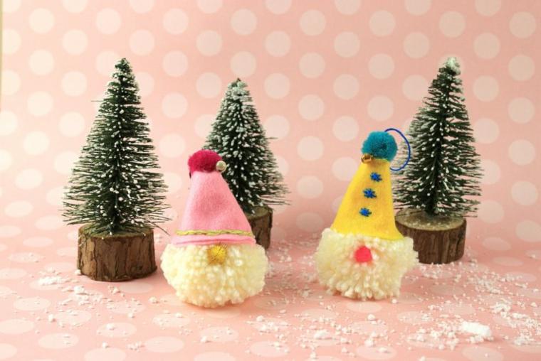 Alberi di Natale originali, gnomo con cappellino di feltro, lavoretti con pom pom