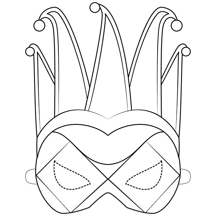 Maschera di arlecchino, maschera da ritagliare, lavoretti di carnevale per bambini scuola dell'infanzia