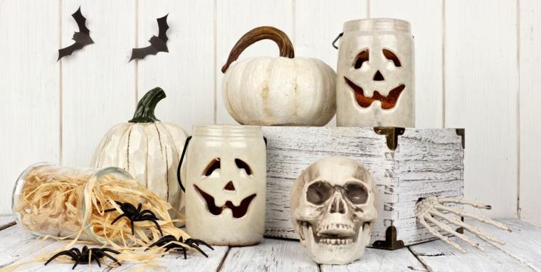 Addobbi Halloween fai da te, zucche finte dipinte, scatola di legno con scheletro