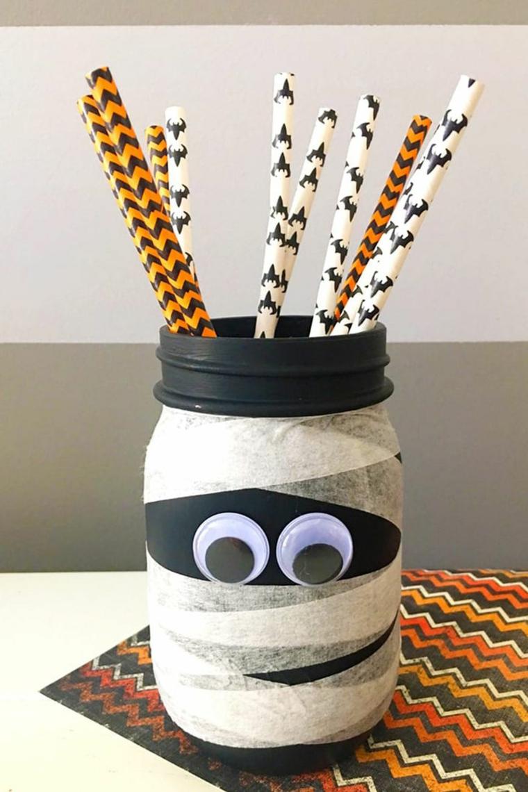 Portamatite tema Halloween, barattolo di vetro mummia, addobbi Halloween fai da te