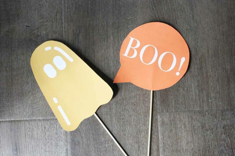 Lavoretti Halloween, bastoncini di legno con scritte, fantasmino e scritta