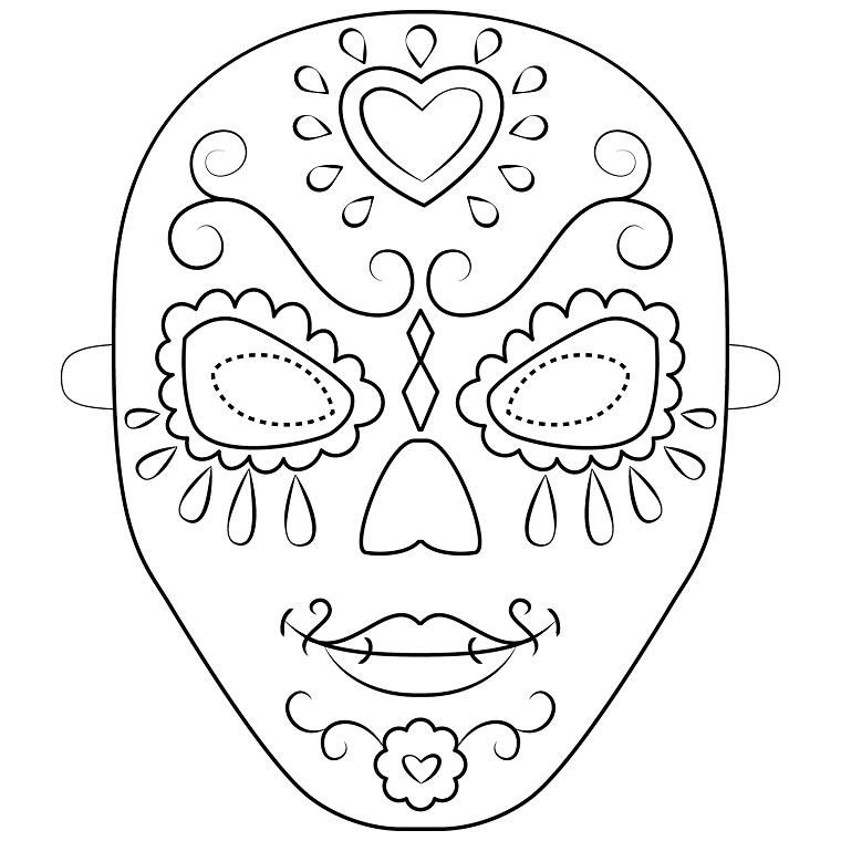 Immagini maschere di carnevale, bautta da colorare, maschera da ritagliare, disegno con ornamenti