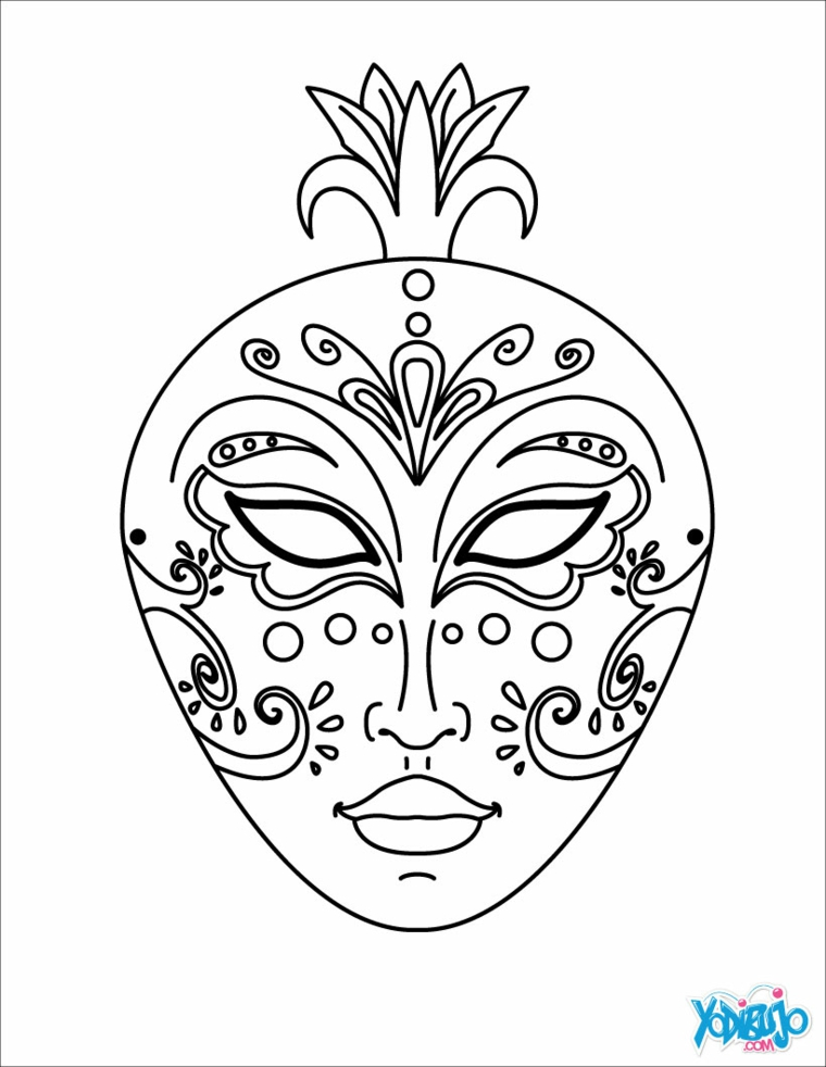 Disegni maschere di carnevale, maschera ovale da colorare, disegno con ornamenti