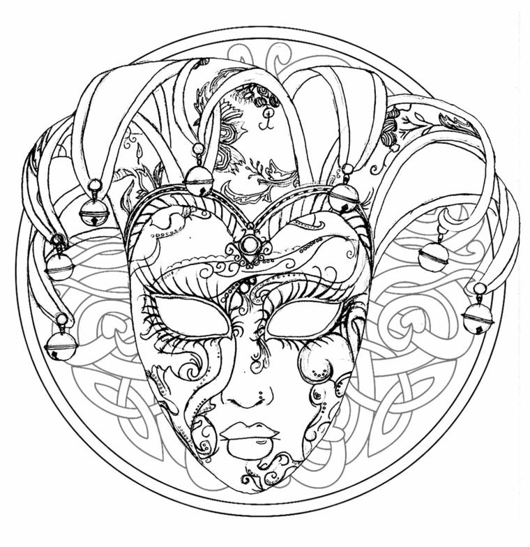 Maschere di carnevale da stampare, disegno di una maschera, disegno di cappello con campanelli