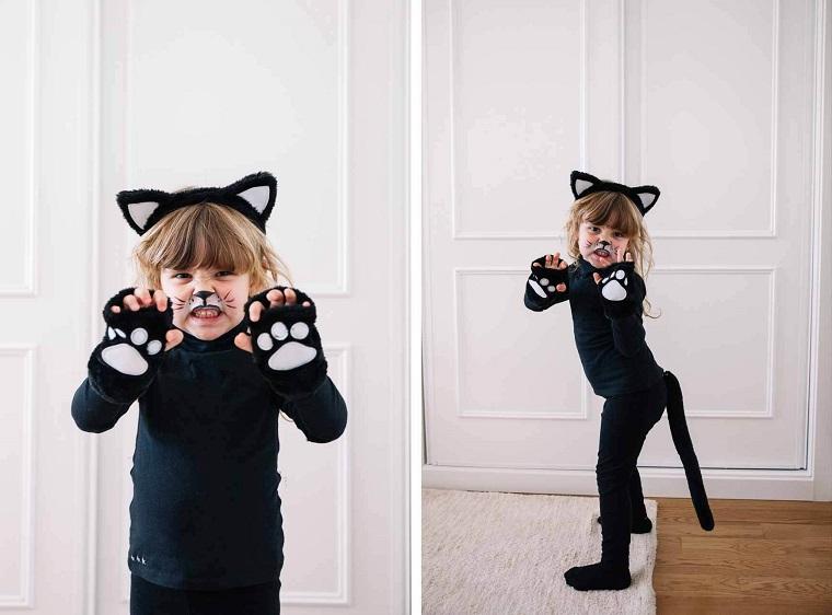 Travestimento bimba da gattino, cerchietto con orecchie, trucco viso per Halloween