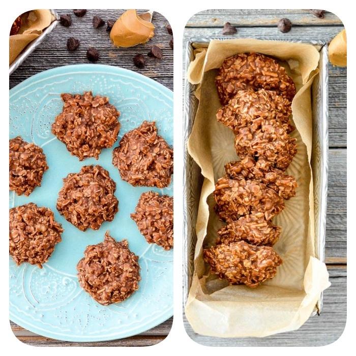 Biscotti velocissimi, teglia con carta da forno, biscotti con fiocchi d'avena, piatto con dolcetti