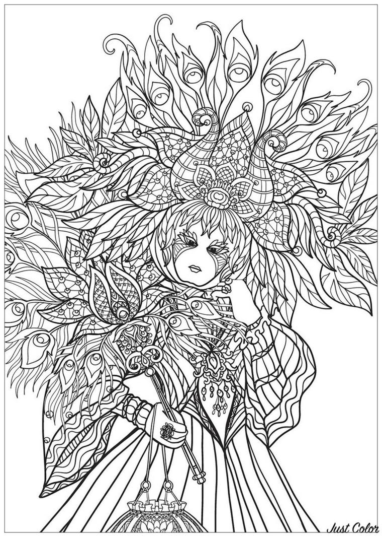 Maschere da colorare, disegno da colorare, maschera veneziana con piume e foglie