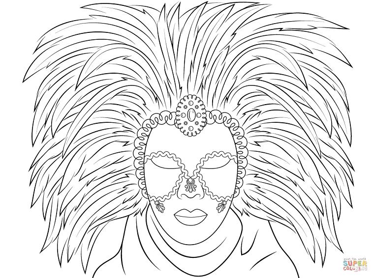 Maschera con occhi da ritagliare, maschera con piume, maschere di carnevale da colorare