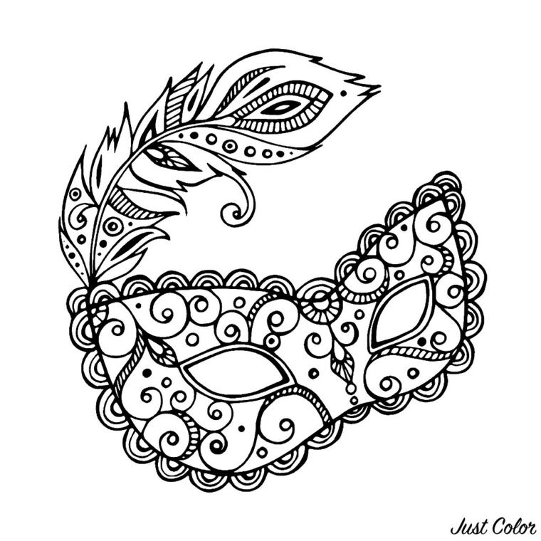 Disegni maschere di carnevale, maschera con ornamenti, disegno maschera con piuma